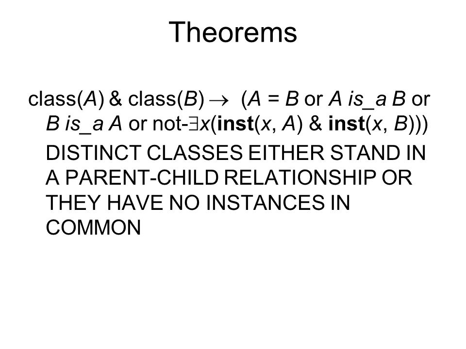 Theorems class(A) & class(B)  (A = B or A is_a B or B is_a A or not-  x(inst(x, A) & inst(x, B))) DISTINCT CLASSES EITHER STAND IN A PARENT-CHILD RELATIONSHIP OR THEY HAVE NO INSTANCES IN COMMON