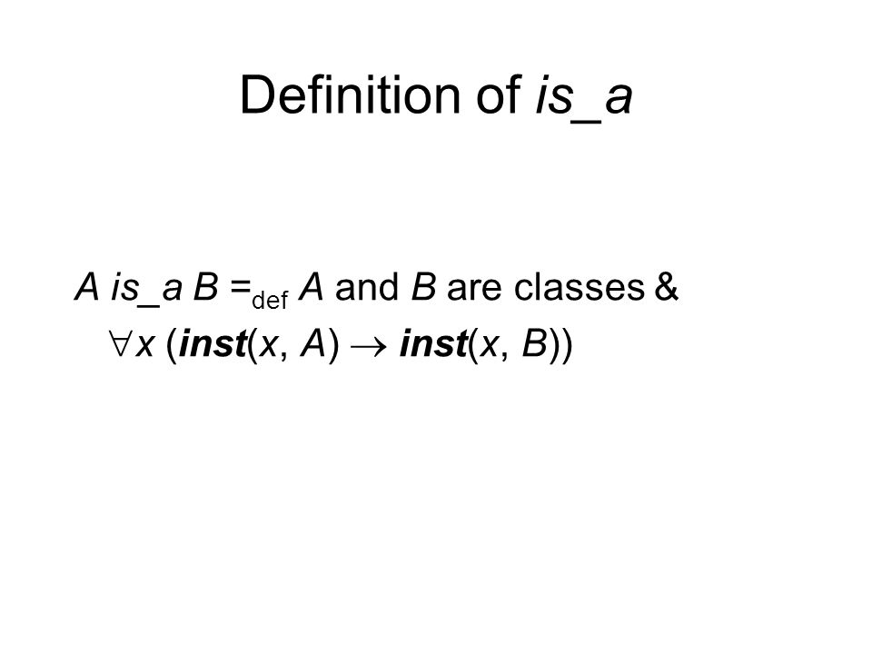 Definition of is_a A is_a B = def A and B are classes &  x (inst(x, A)  inst(x, B))
