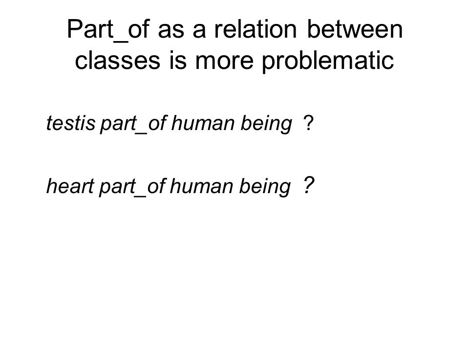Part_of as a relation between classes is more problematic testis part_of human being .