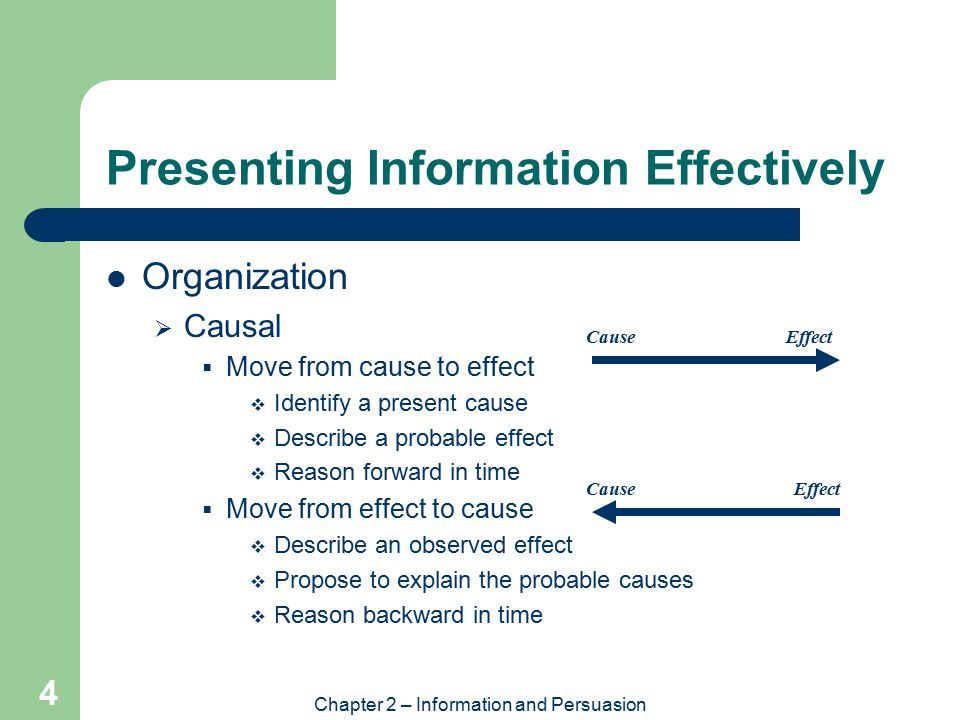 Chapter 2 – Information and Persuasion 4 Presenting Information Effectively Organization  Causal  Move from cause to effect  Identify a present cause  Describe a probable effect  Reason forward in time  Move from effect to cause  Describe an observed effect  Propose to explain the probable causes  Reason backward in time Cause Effect Cause