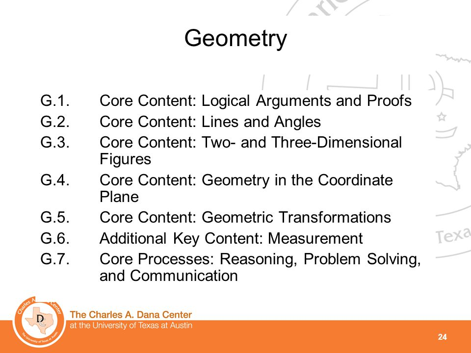 24 Geometry G.1.Core Content: Logical Arguments and Proofs G.2.Core Content: Lines and Angles G.3.Core Content: Two- and Three-Dimensional Figures G.4