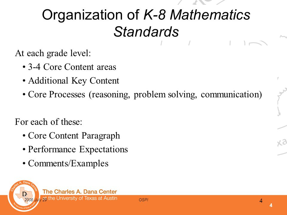 4 2008 July 29OSPI Organization of K-8 Mathematics Standards At each grade level: 3-4 Core Content areas Additional Key Content Core Processes (reason