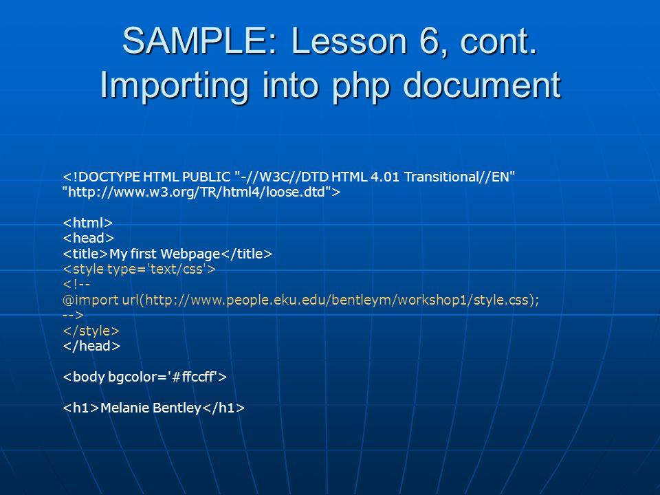 SAMPLE: Lesson 6, cont.