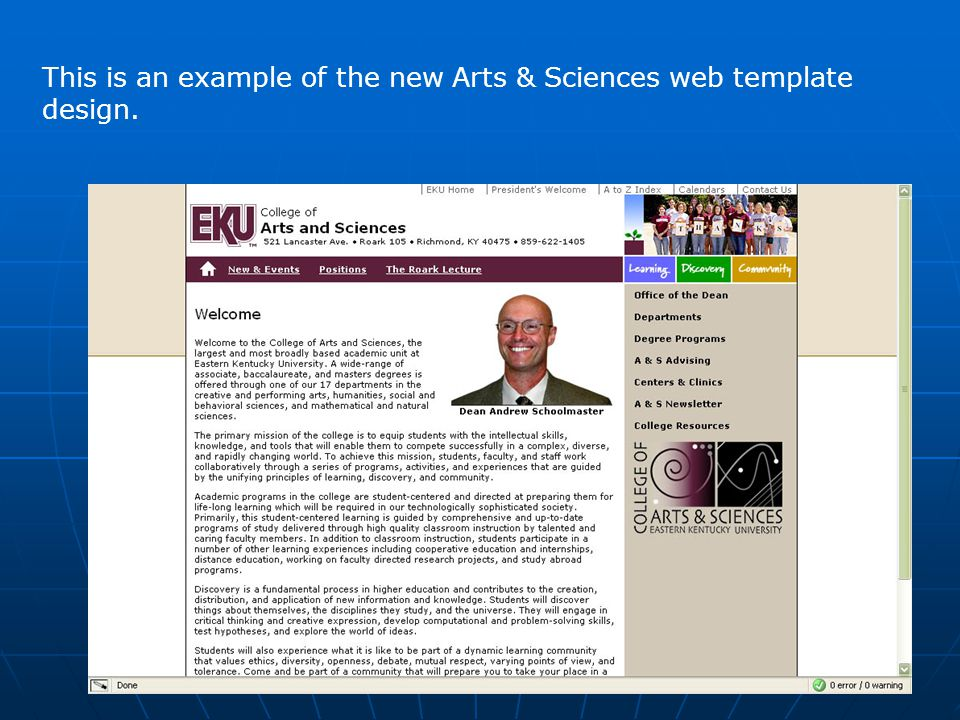 This is an example of the new Arts & Sciences web template design.