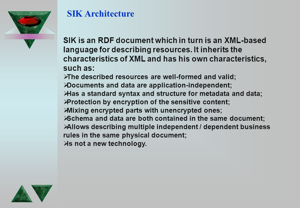 SIK Architecture SIK is an RDF document which in turn is an XML-based language for describing resources.