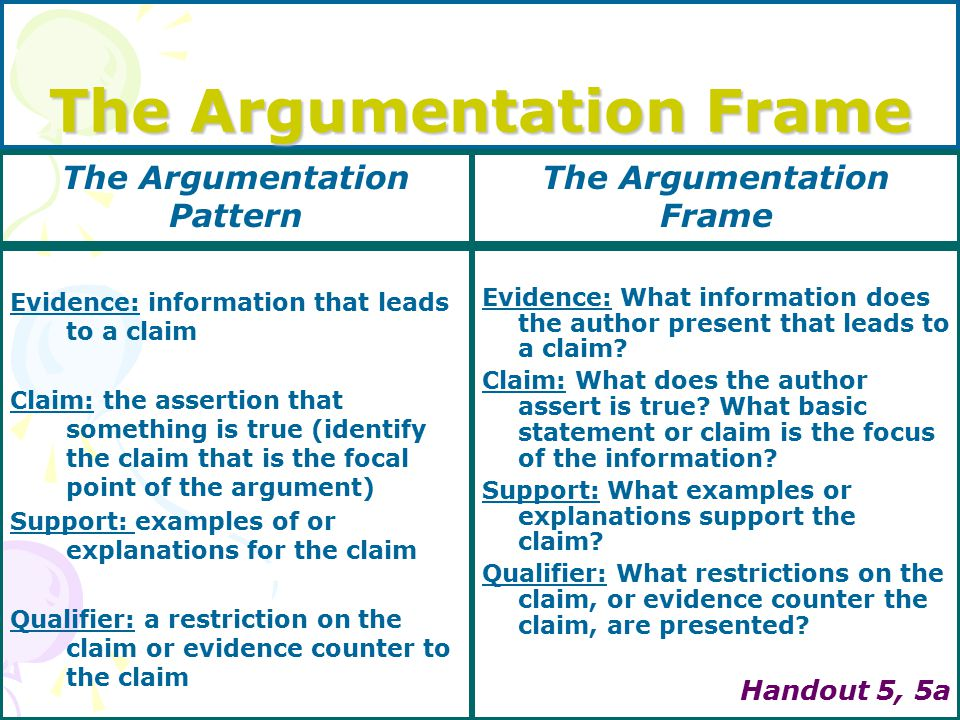 The Argumentation Frame Evidence: information that leads to a claim Claim: the assertion that something is true (identify the claim that is the focal point of the argument) Support: examples of or explanations for the claim Qualifier: a restriction on the claim or evidence counter to the claim Evidence: What information does the author present that leads to a claim.