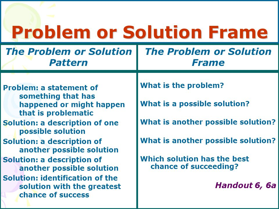 Problem or Solution Frame Problem: a statement of something that has happened or might happen that is problematic Solution: a description of one possible solution Solution: a description of another possible solution Solution: identification of the solution with the greatest chance of success What is the problem.