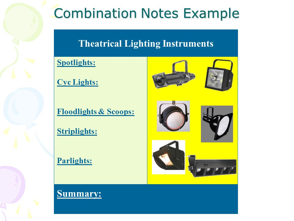 Combination Notes Example Spotlights: Cyc Lights: Floodlights & Scoops: Striplights: Parlights: Summary: Theatrical Lighting Instruments