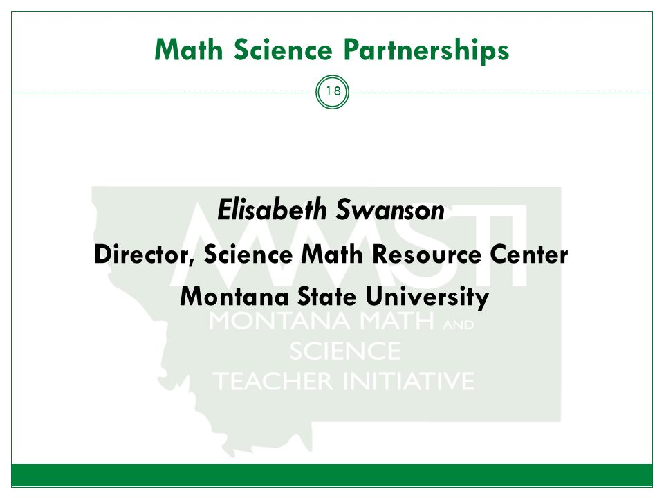 Math Science Partnerships Elisabeth Swanson Director, Science Math Resource Center Montana State University 18