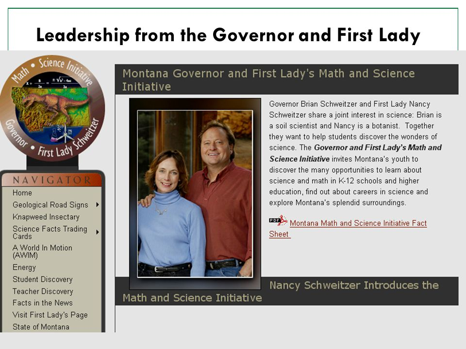 9 Leadership from the Governor and First Lady