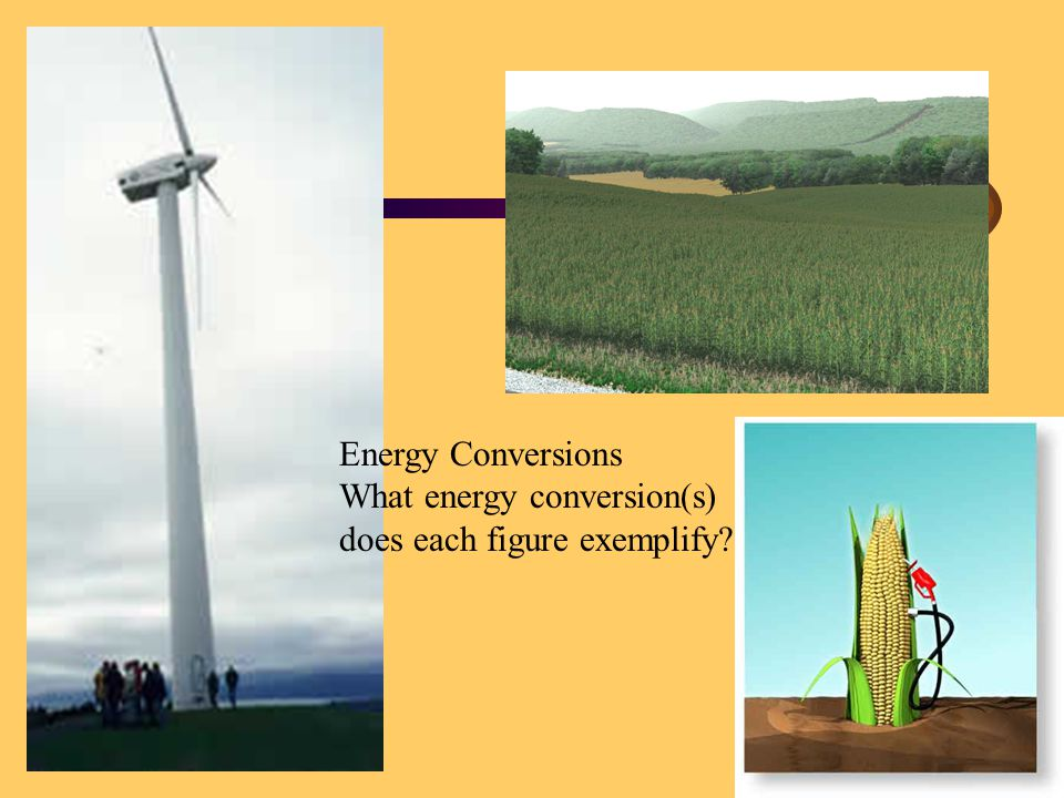 Energy Conversions What energy conversion(s) does each figure exemplify?