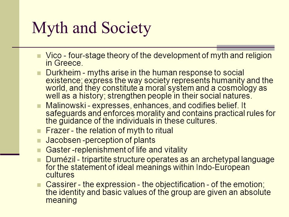 Myth and Psychology Freud - utilized themes from older mythological structures to exemplify the conflicts and dynamics of the unconscious psychic life Jung - collective unconscious; theory of archetypes, patterns of great impact, at once emotions and ideas that are expressed in behavior and images.