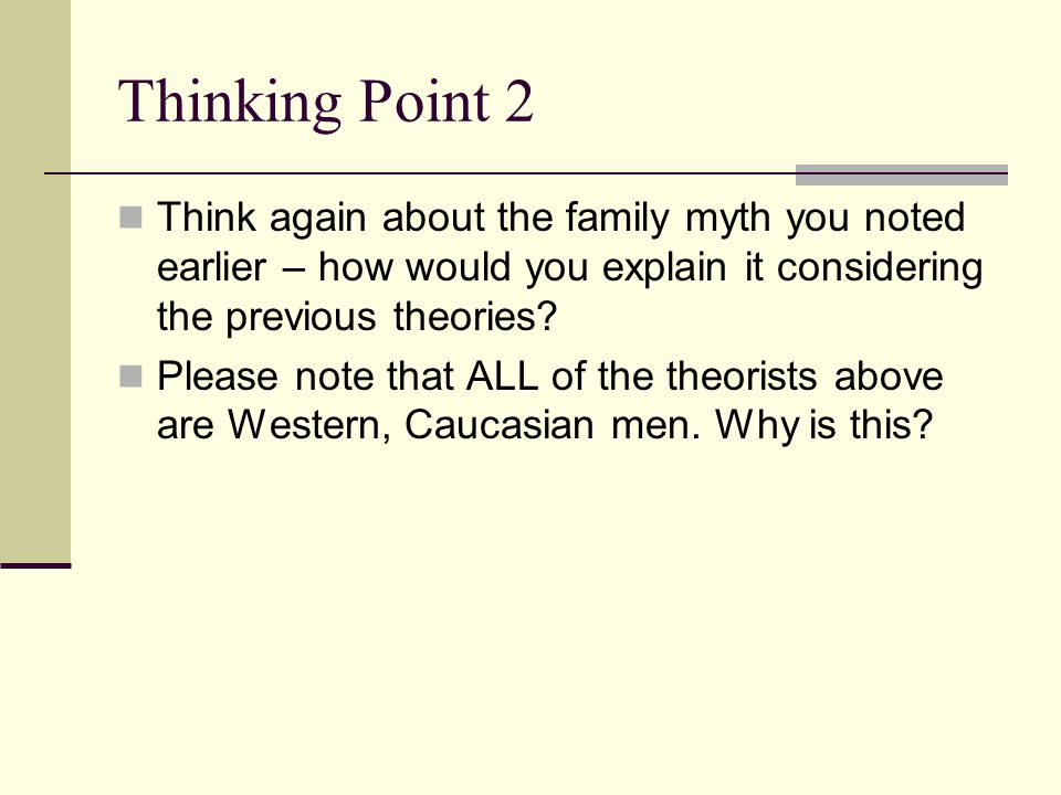 Thinking Point 2 Think again about the family myth you noted earlier – how would you explain it considering the previous theories.