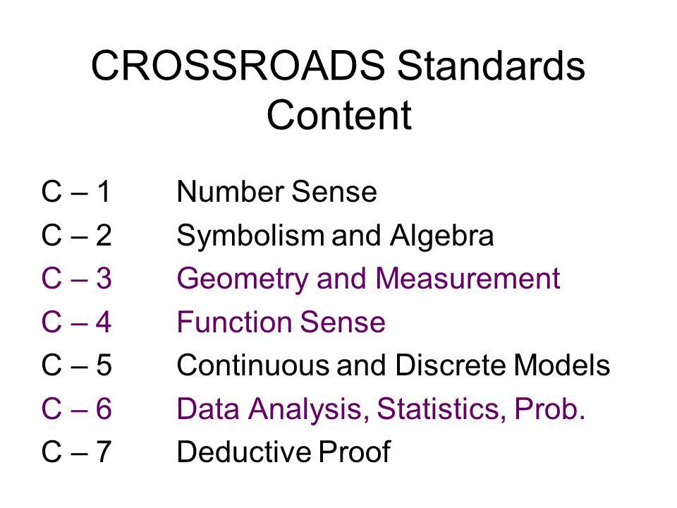 CROSSROADS Standards Content C – 1 Number Sense C – 2Symbolism and Algebra C – 3Geometry and Measurement C – 4Function Sense C – 5Continuous and Discrete Models C – 6Data Analysis, Statistics, Prob.