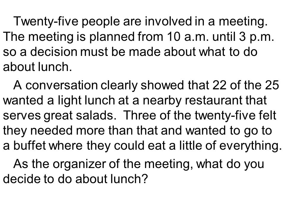 Twenty-five people are involved in a meeting. The meeting is planned from 10 a.m.