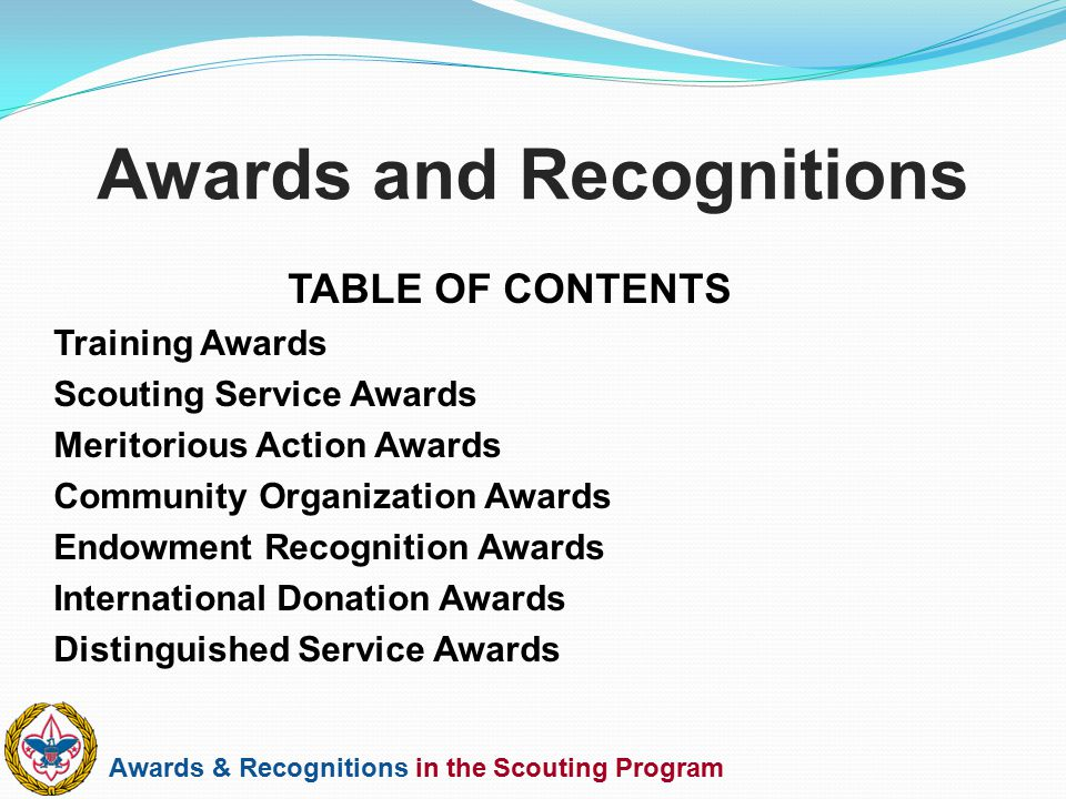 Awards & Recognitions in the Scouting Program Awards and Recognitions TABLE OF CONTENTS Training Awards Scouting Service Awards Meritorious Action Awa