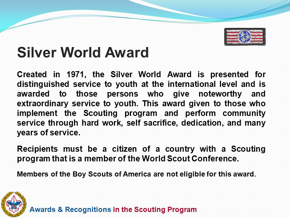 Awards & Recognitions in the Scouting Program Created in 1971, the Silver World Award is presented for distinguished service to youth at the internati
