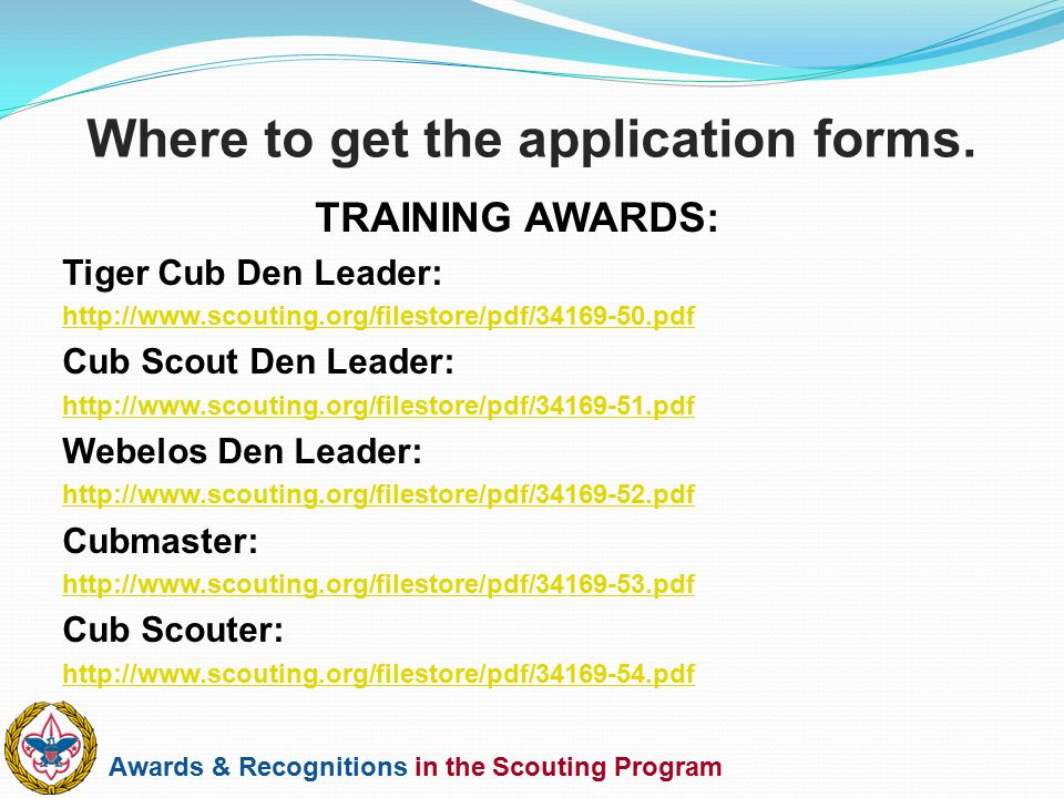 Awards & Recognitions in the Scouting Program TRAINING AWARDS: Tiger Cub Den Leader: http://www.scouting.org/filestore/pdf/34169-50.pdf Cub Scout Den