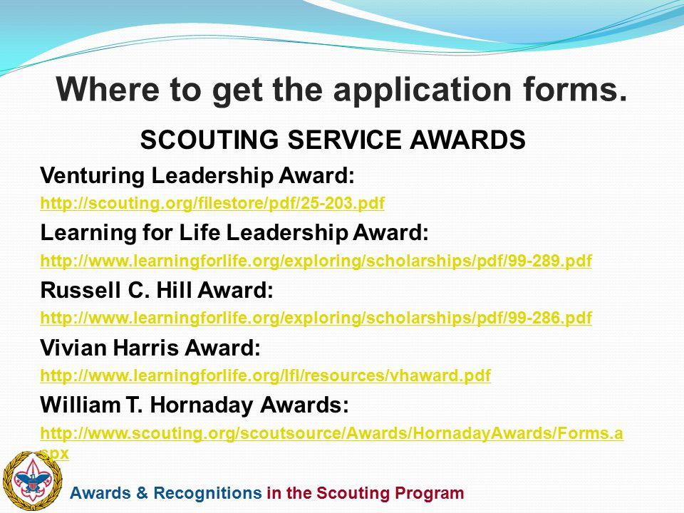 Awards & Recognitions in the Scouting Program SCOUTING SERVICE AWARDS Venturing Leadership Award: http://scouting.org/filestore/pdf/25-203.pdf Learnin