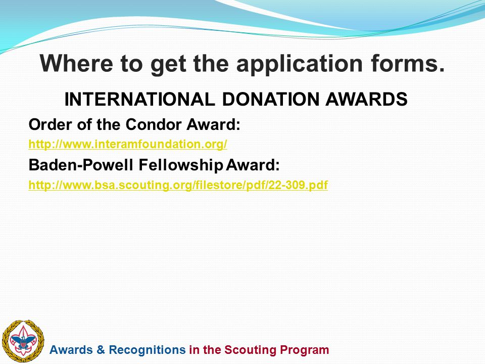 Awards & Recognitions in the Scouting Program INTERNATIONAL DONATION AWARDS Order of the Condor Award: http://www.interamfoundation.org/ Baden-Powell