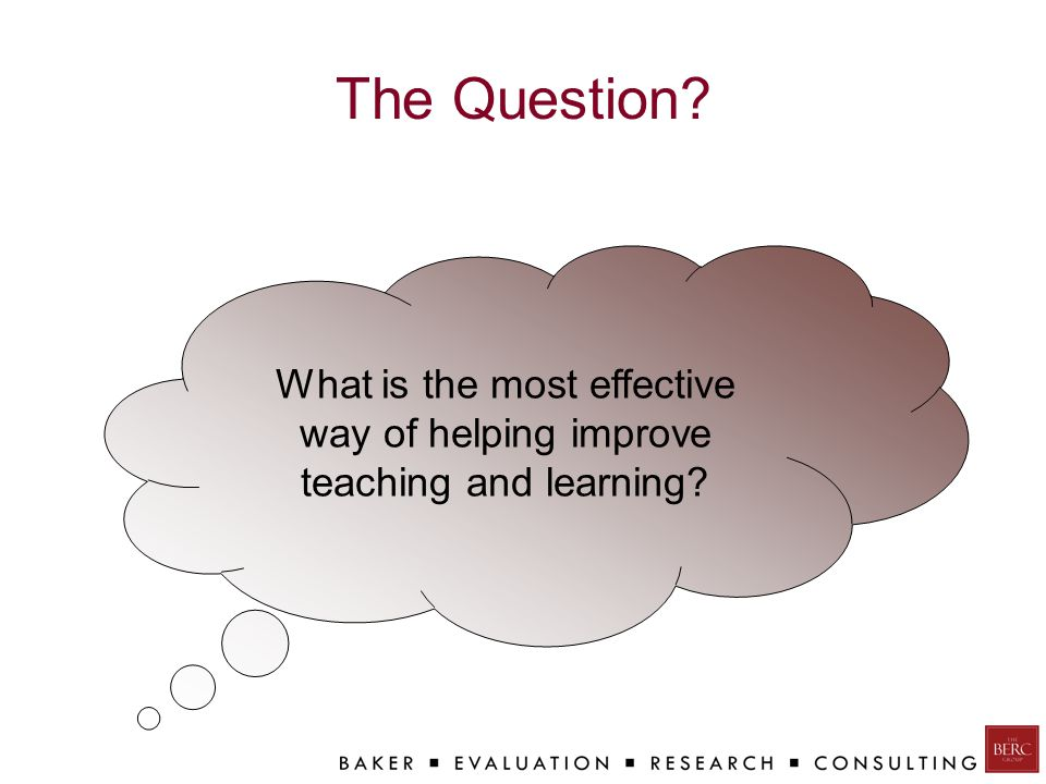 The Question? What is the most effective way of helping improve teaching and learning?