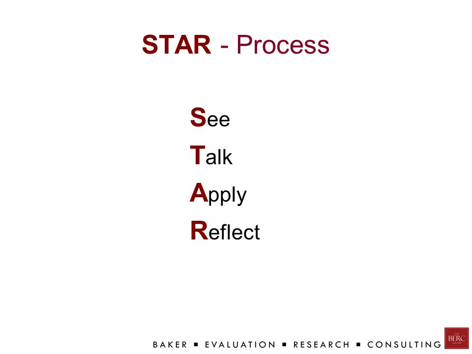 STAR - Process S ee T alk A pply R eflect