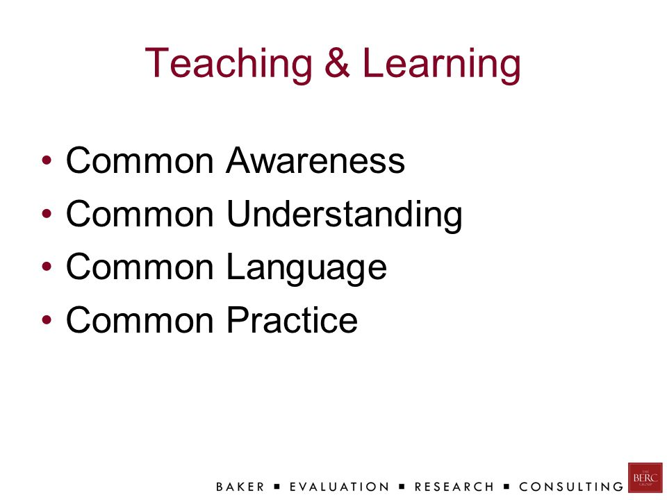 Teaching & Learning Common Awareness Common Understanding Common Language Common Practice