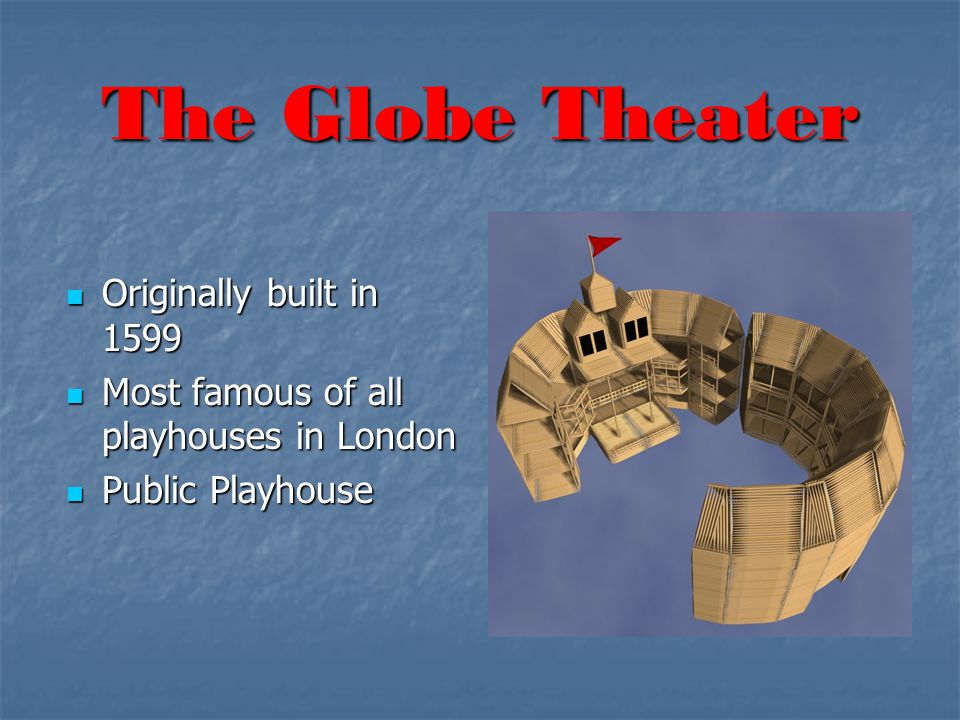 The Globe Theater Originally built in 1599 Originally built in 1599 Most famous of all playhouses in London Most famous of all playhouses in London Public Playhouse Public Playhouse