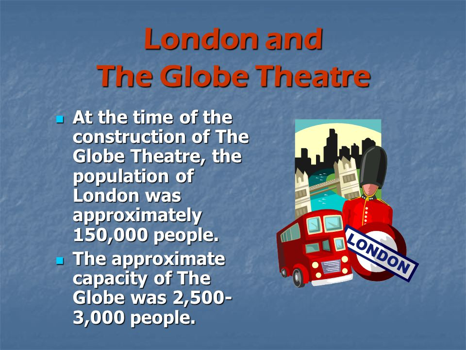 London and The Globe Theatre At the time of the construction of The Globe Theatre, the population of London was approximately 150,000 people.