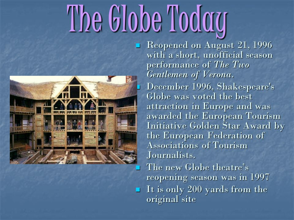 The Globe Today Reopened on August 21, 1996 with a short, unofficial season performance of The Two Gentlemen of Verona.