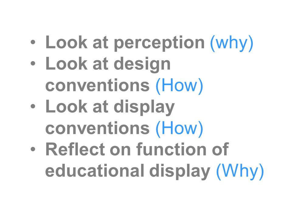 Look at perception (why) Look at design conventions (How) Look at display conventions (How) Reflect on function of educational display (Why)