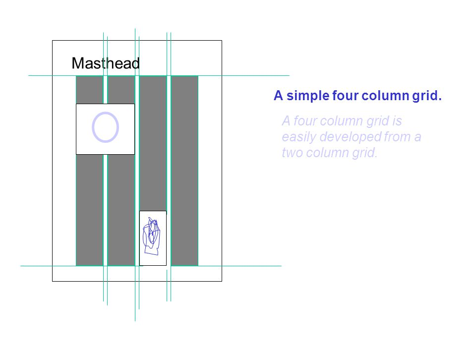 A simple four column grid. Masthead A four column grid is easily developed from a two column grid.