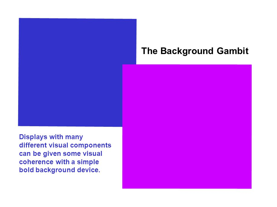 The Background Gambit Displays with many different visual components can be given some visual coherence with a simple bold background device.