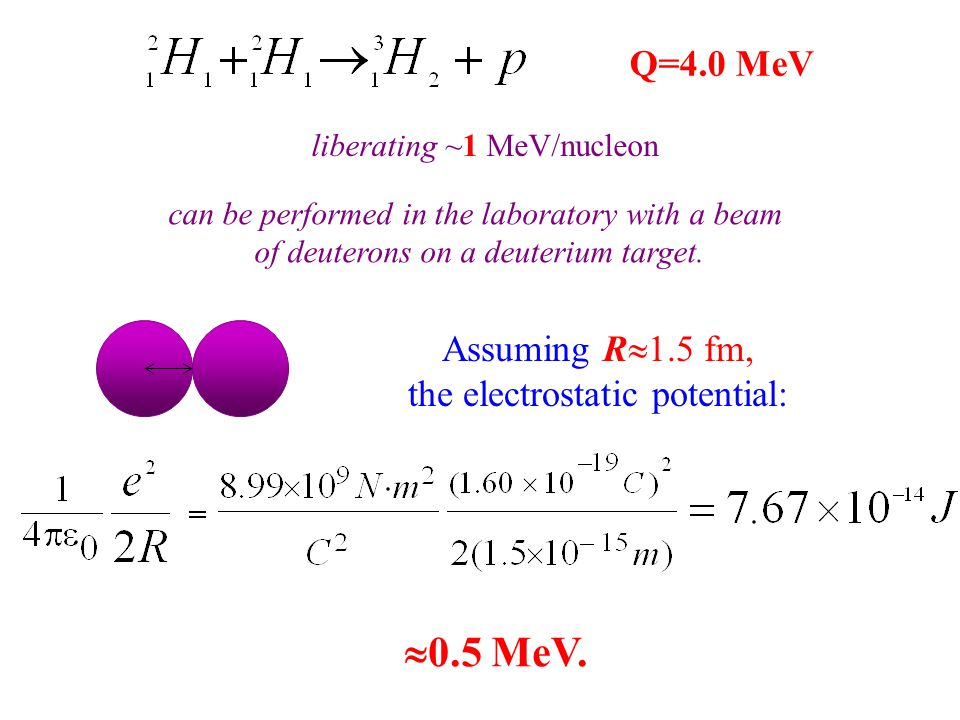 liberating ~1 MeV/nucleon can be performed in the laboratory with a beam of deuterons on a deuterium target. Assuming R  1.5 fm, the electrostatic po