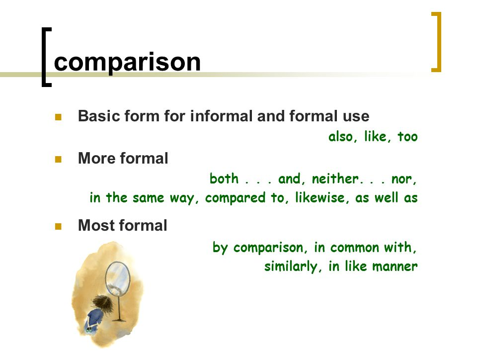 example Basic form for informal and formal use for example More formal for instance, in other words Most formal as an example, as an illustration, to exemplify