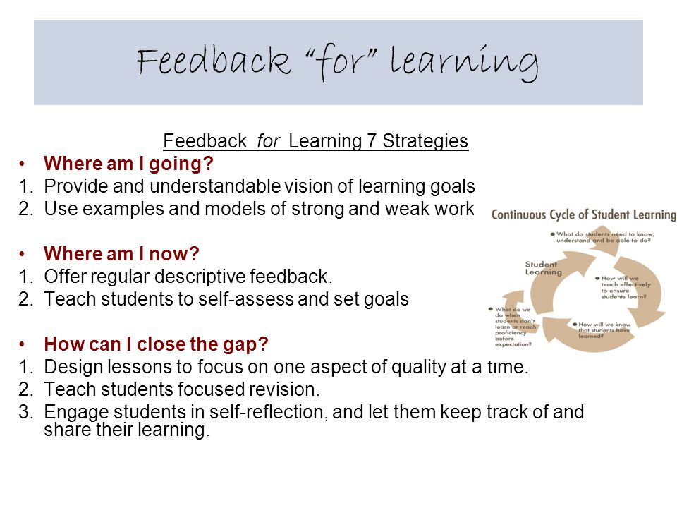 Feedback for learning Feedback for Learning 7 Strategies Where am I going.