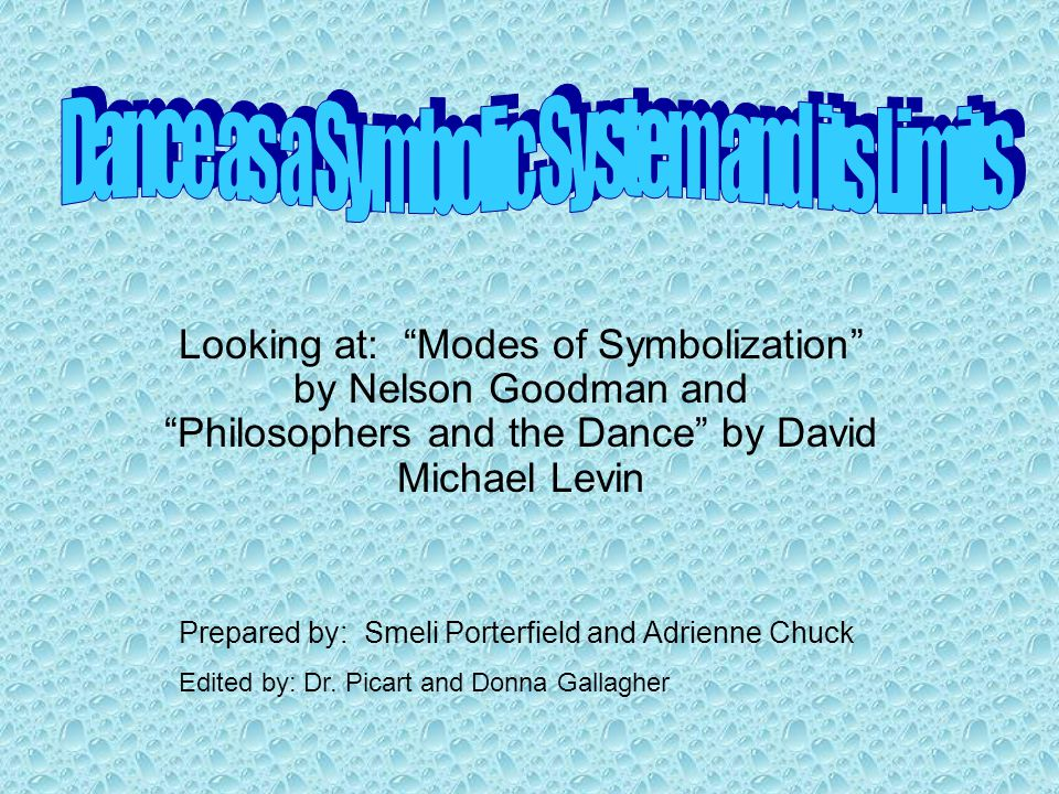Aims of Session Overview of Goodman's articles Modes of Symbolization and Afterword Class Activity to understand Goodman's article Overview of Levin's article Philosophers and the Dance Discussion of themes from articles