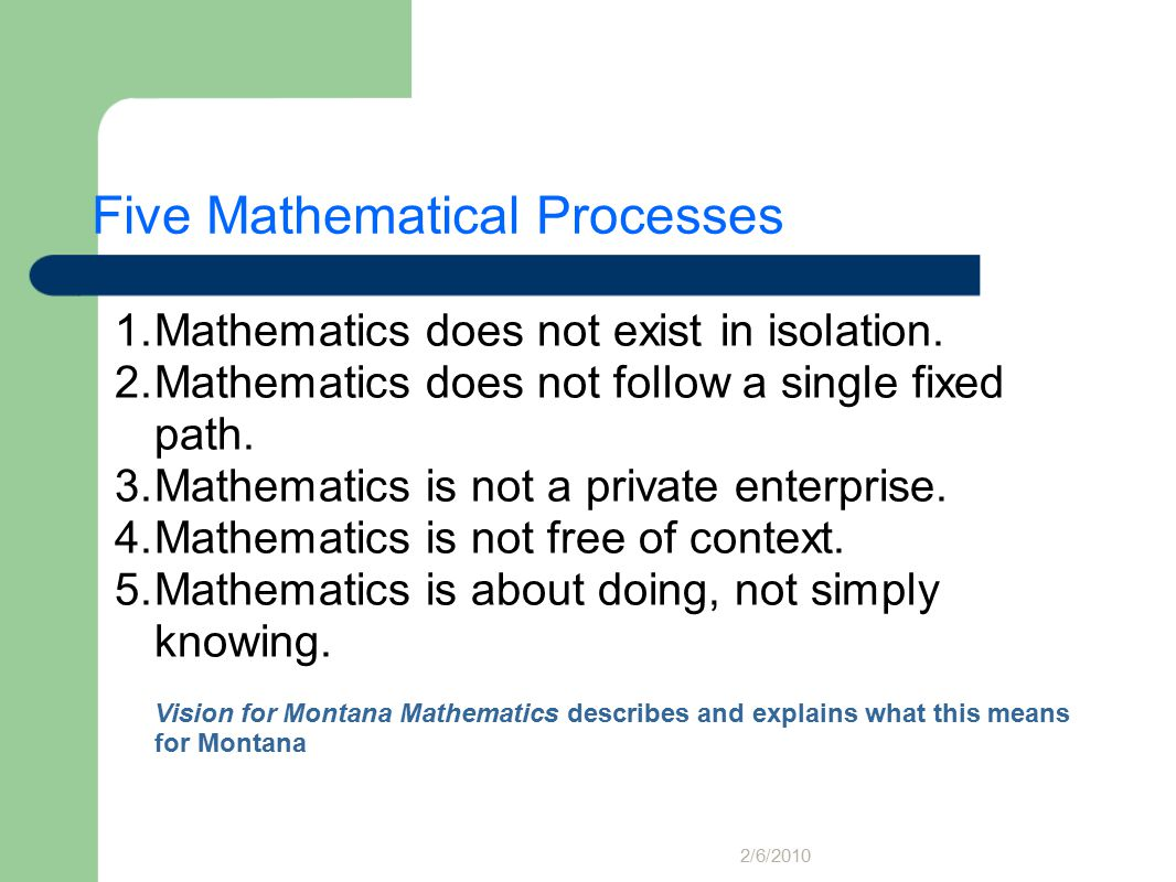 Five Mathematical Processes 1.Mathematics does not exist in isolation.