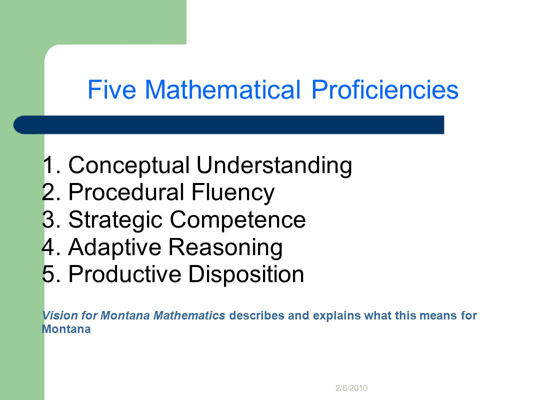 Five Mathematical Proficiencies 1. Conceptual Understanding 2.