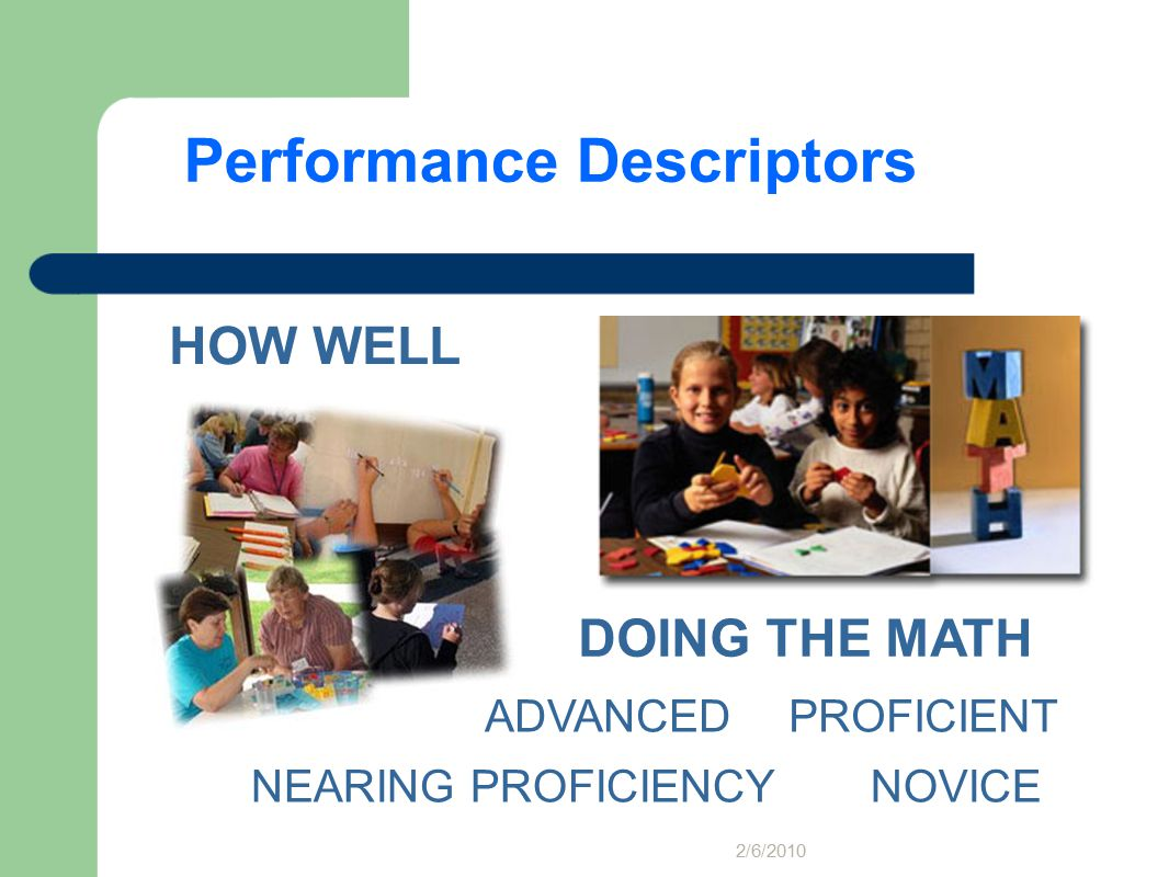 HOW WELL DOING THE MATH NEARING PROFICIENCY ADVANCEDPROFICIENT NOVICE Performance Descriptors 2/6/2010