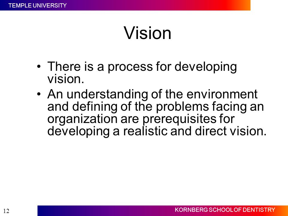 TEMPLE UNIVERSITY KORNBERG SCHOOL OF DENTISTRY 12 Vision There is a process for developing vision. An understanding of the environment and defining of