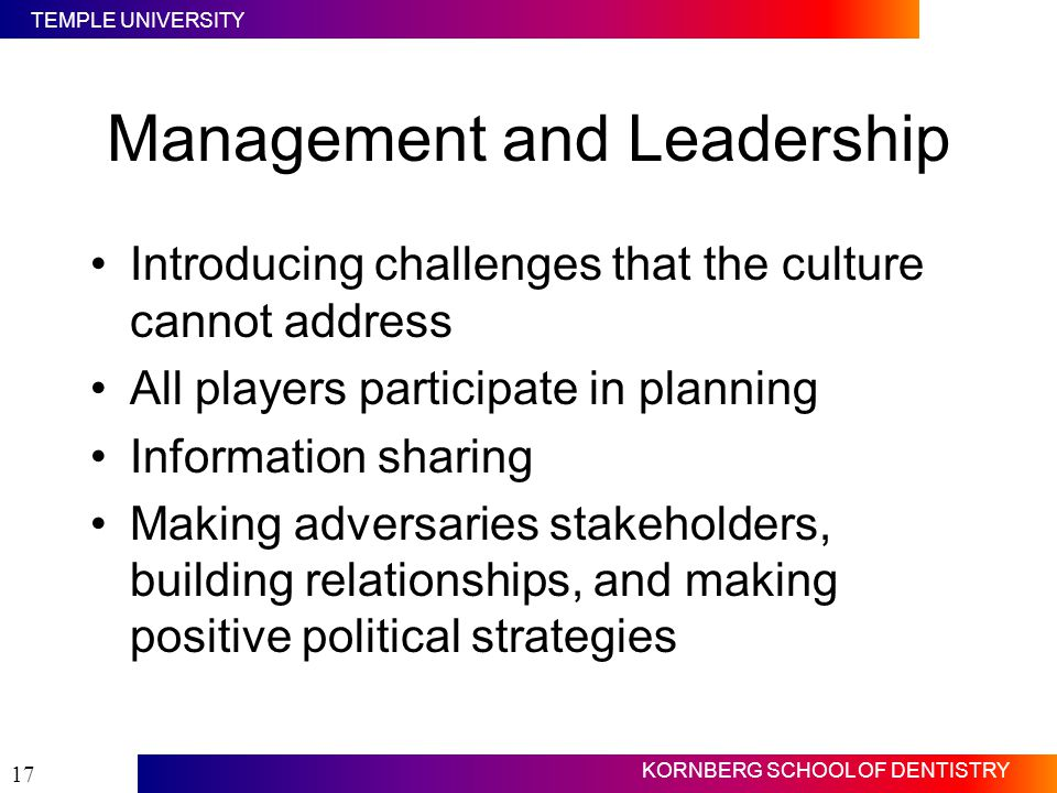 TEMPLE UNIVERSITY KORNBERG SCHOOL OF DENTISTRY 17 Management and Leadership Introducing challenges that the culture cannot address All players partici