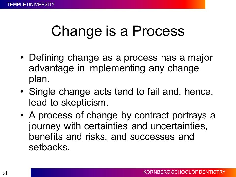 TEMPLE UNIVERSITY KORNBERG SCHOOL OF DENTISTRY 31 Change is a Process Defining change as a process has a major advantage in implementing any change pl