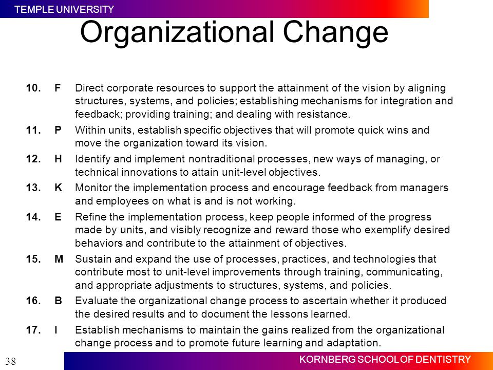 TEMPLE UNIVERSITY KORNBERG SCHOOL OF DENTISTRY 38 Organizational Change 10.FDirect corporate resources to support the attainment of the vision by alig