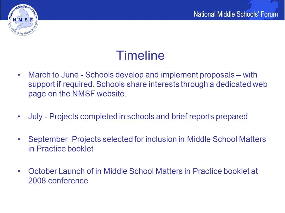 Timeline March to June - Schools develop and implement proposals – with support if required.