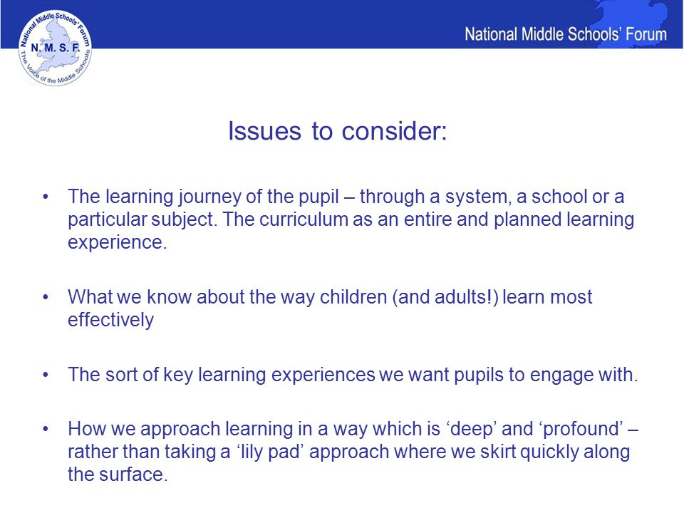 Issues to consider: The learning journey of the pupil – through a system, a school or a particular subject.
