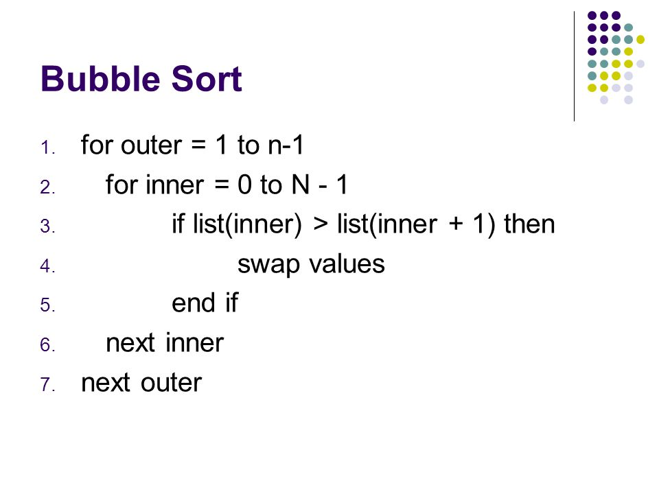 Bubble sort 5617820349 5th Comparison Swap Second Pass