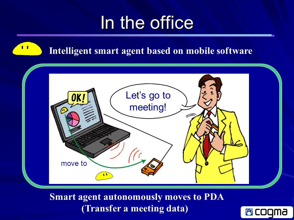 Design Concept of cogma Agent Networks Mobile Applications Intelligent Agents Application for supporting ad-hoc communications Construct a context aware ad-hoc network Smart agent technology for supporting calm computing