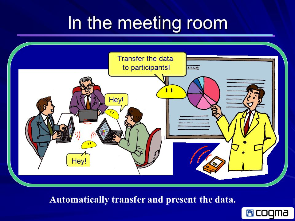 In the office Smart agent autonomously moves to PDA (Transfer a meeting data) Intelligent smart agent based on mobile software Let's go to meeting.