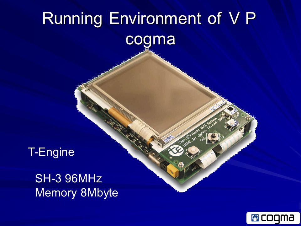 Running Environment of VP cogma Windows PC Intel x86 1GHz Memory 512Mbyte Pocket PC XScale 400MHz Memory 32Mbyte